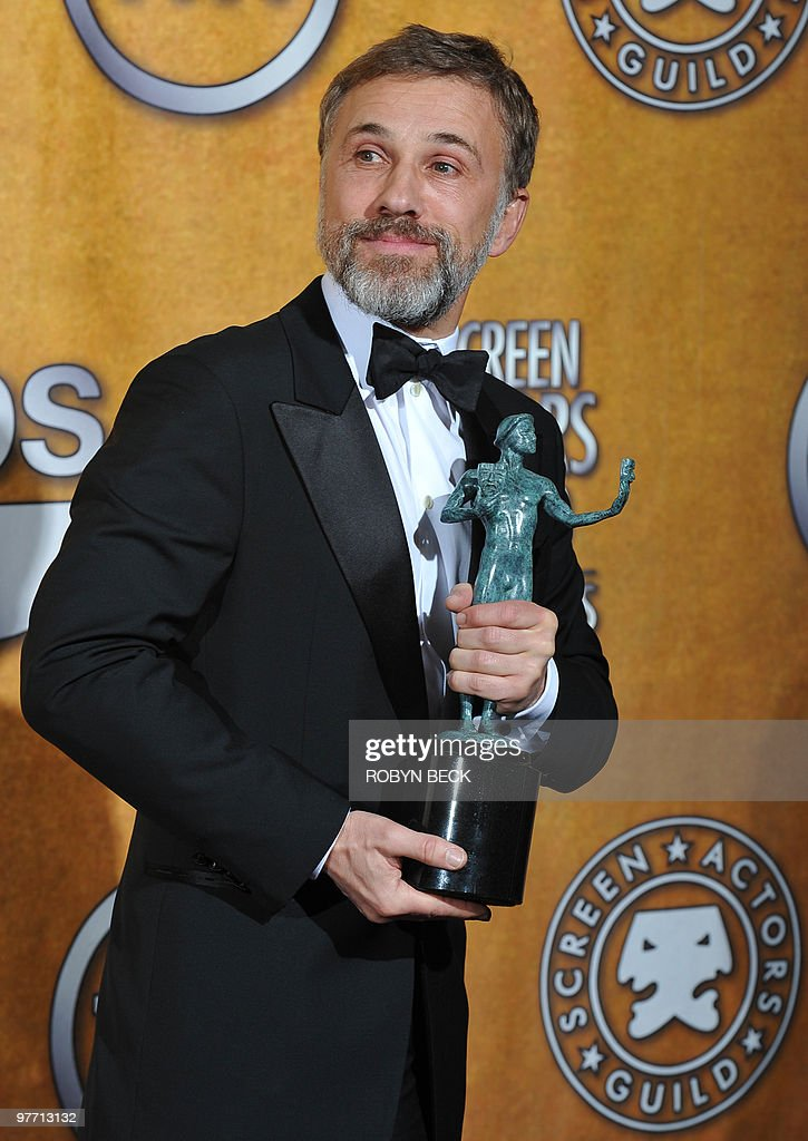 <a gi-track='captionPersonalityLinkClicked' href=/galleries/search?phrase=Christoph+Waltz&family=editorial&specificpeople=4276914 ng-click='$event.stopPropagation()'>Christoph Waltz</a> holds his trophy for Outstanding Performance by a Male Actor in a Supporting Role in 'Inglorious Basterds' at the 16th annual Screen Actors Guild Awards (SAG) at the Shrine Exposition Center in Los Angeles January 23, 2010. AFP PHOTO / ROBYN BECK
