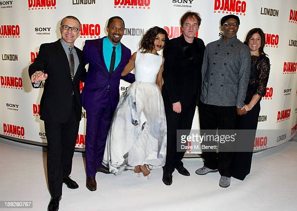 Christoph Waltz Jamie Foxx Kerry Washington Quentino Tarantin and Samuel L Jackson attend the UK Premiere of 'Django Unchained' at Empire Leicester...