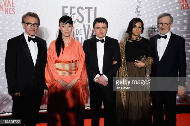 Christoph Waltz Naomi Kawase Cristian Mungiu Vidya Balan and Steven Spielber attend the Palme D'Or Winners dinner during The 66th Annual Cannes Film...