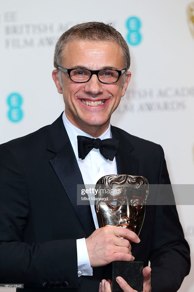Christoph Waltz poses in the Press Room at the EE British Academy Film Awards at The Royal Opera House on February 10, 2013 in London, England.