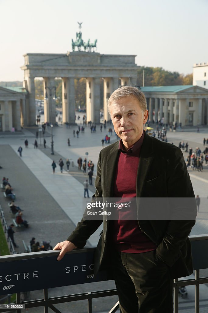 <a gi-track='captionPersonalityLinkClicked' href=/galleries/search?phrase=Christoph+Waltz&family=editorial&specificpeople=4276914 ng-click='$event.stopPropagation()'>Christoph Waltz</a> stands with the Brandenburg Gate behind during a photocall prior the German premiere of the new James Bond movie 'Spectre' at Hotel Adlon on October 28, 2015 in Berlin, Germany.