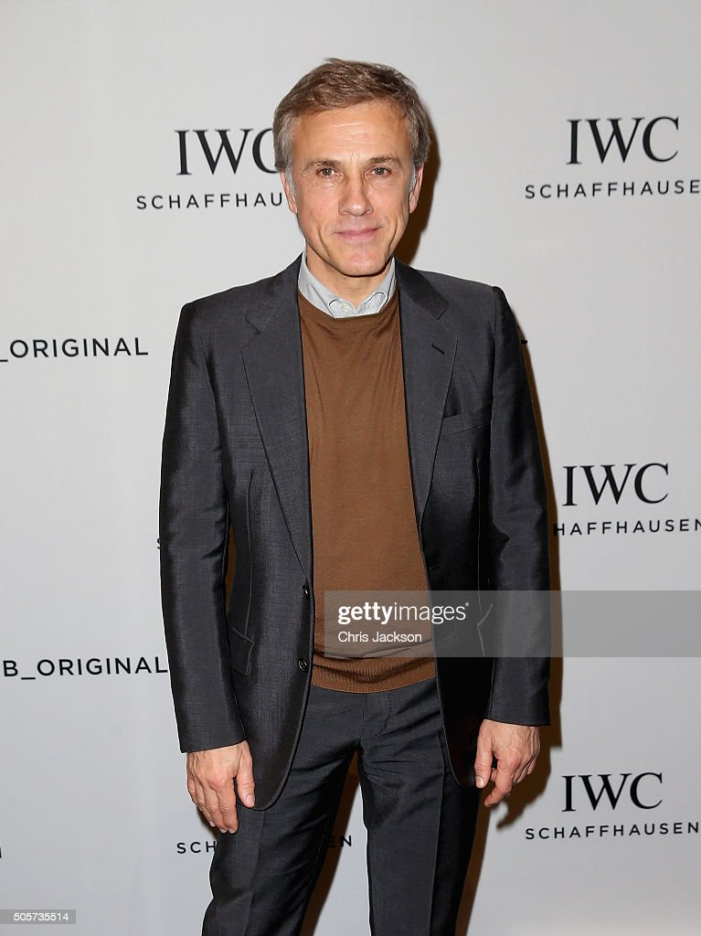 Christoph Waltz visits the IWC booth during the launch of the Pilot's Watches Novelties from the Swiss luxury watch manufacturer IWC Schaffhausen at the Salon International de la Haute Horlogerie (SIHH) 2016 on January 19, 2016 in Geneva, Switzerland.