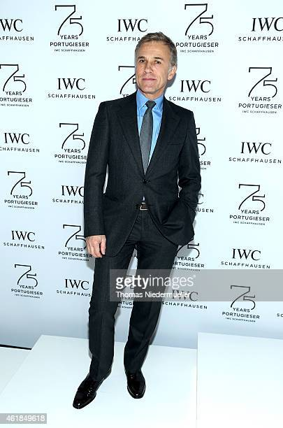 Christoph Waltz visits the IWC booth during the Salon International de la Haute Horlogerie 2015 at the Palexpo on January 20 2015 in Geneva...