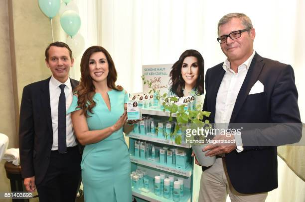 Christoph Werner Judith Williams and Proffessor Lukas A Huber attend the presentation of Judith Williams new cosmetic line EGF Tech Science for DM...