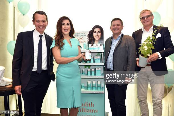 Christoph Werner Judith Williams Erich Harsch and Proffessor Lukas A Huber attend the presentation of Judith Williams new cosmetics line EGF Tech...