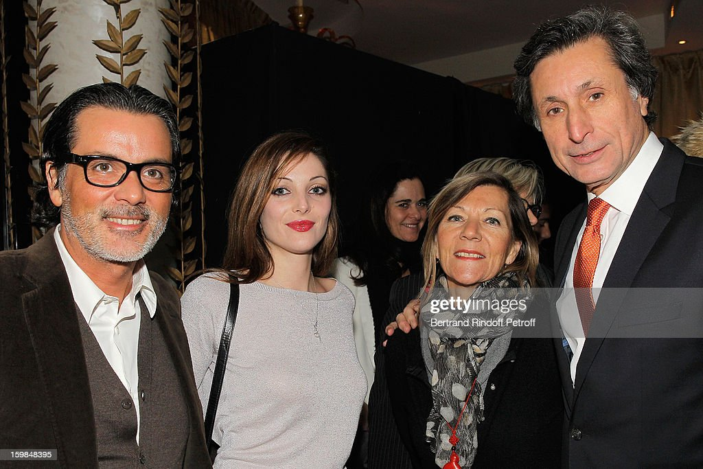 Christophe Barratier, his companion Gwendoline Doytcheva, Ann Carol de Carolis and her husband Patrick ,de Carolis attend'La Petite Maison De Nicole' Inauguration Cocktail at Hotel Fouquet's Barriere on January 21, 2013 in Paris, France.