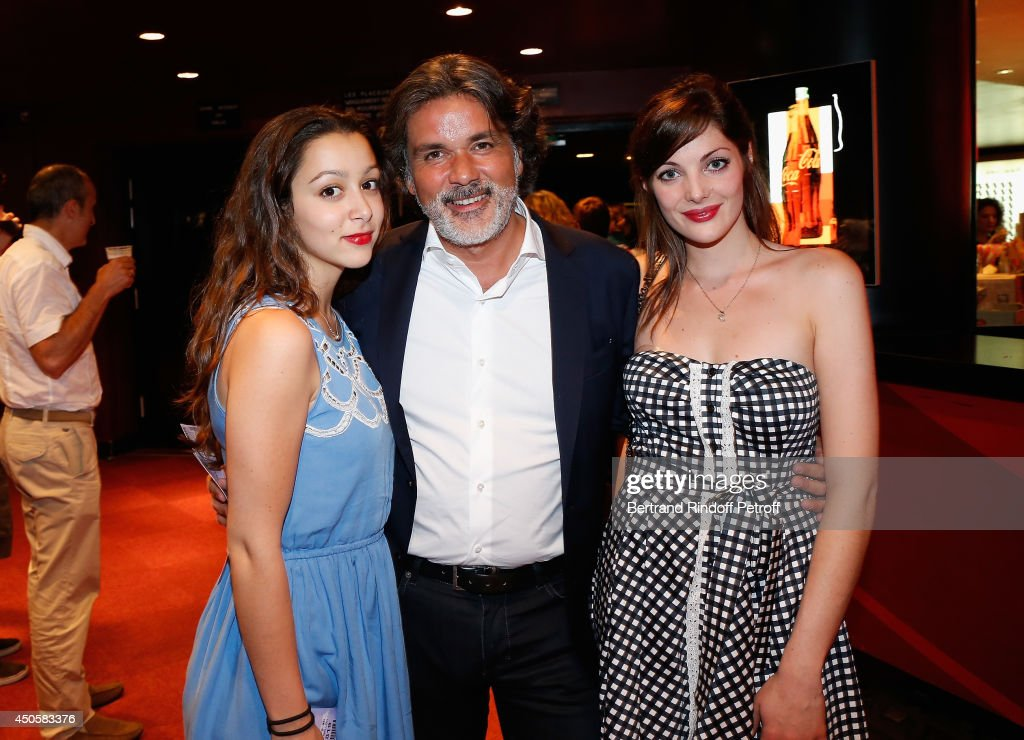 Christophe Barratier his daughter Violette and his companion attend the one man show of Pierre Richard 'Le Vendredi 13 De Pierre Richard' at...