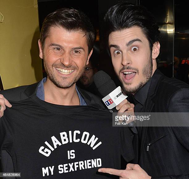 Christophe Beaugrand and Baptiste Giabiconi attend the 'Baptiste Giabiconi Stylecom' Launch Party at VIP Room Theater Paris on February 28 2015 in...