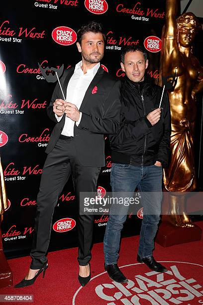 Christophe Beaugrand and MarcOlivier Fogiel attend the Conchita Wurst Crazy Horse Show at Le Crazy Horse on November 9 2014 in Paris France