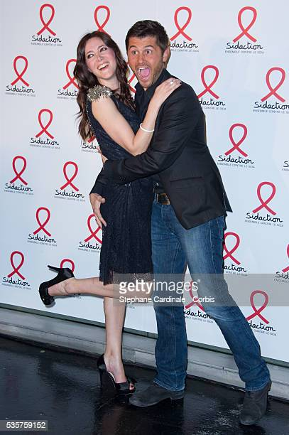 Christophe Beaugrand and Sandra Lou attend the Sidaction 2012 Press Conference at Musee du quai Branly in Paris