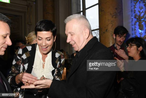 Christophe Beaux Cristina Cordula and Jean Paul Gaultier attend 'France By Jean Paul Gaultier' Limited Coin Collection Press Preview At La Monnaie de...