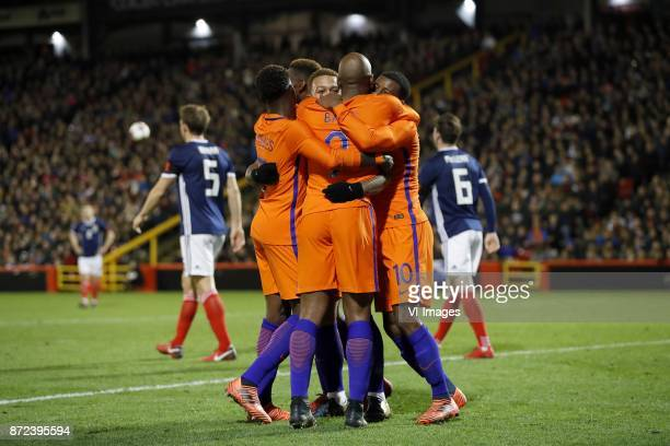Christophe Berra of Scotland Quincy Promes of Holland Timothy FosuMensah of Holland Memphis Depay of Holland Ryan Babel of Holland Georginio...