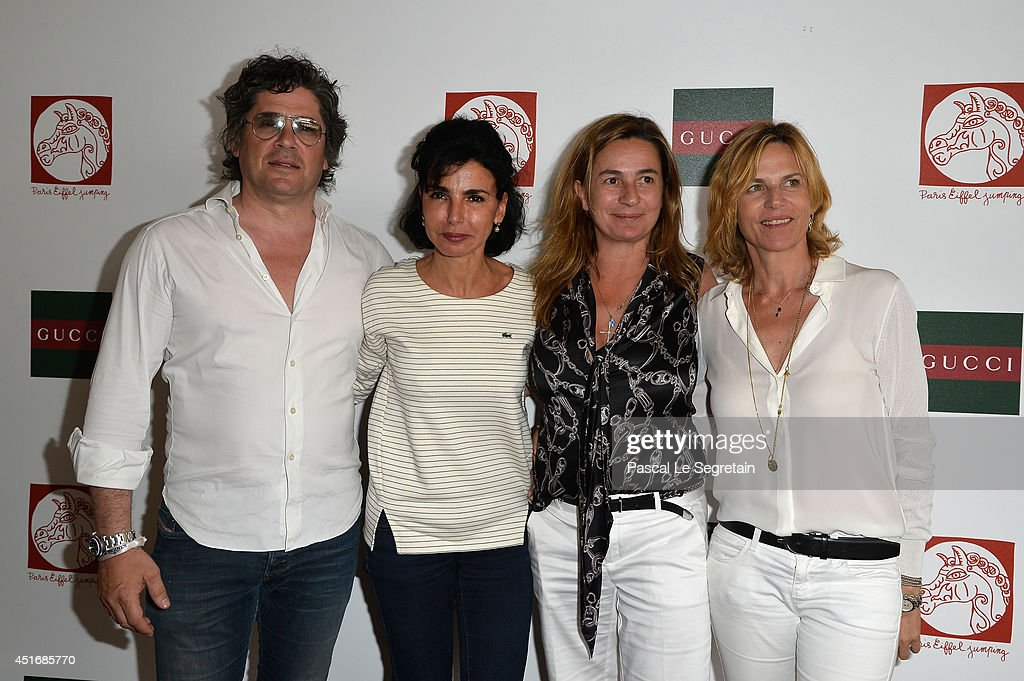 Christophe Bonnat, Rachida Dati, Coco Couperie Eiffel and Virginie Couperie-Eiffel attend the Paris Eiffel Jumping presented by Gucci at Champ-de-Mars on July 4, 2014 in Paris, France.