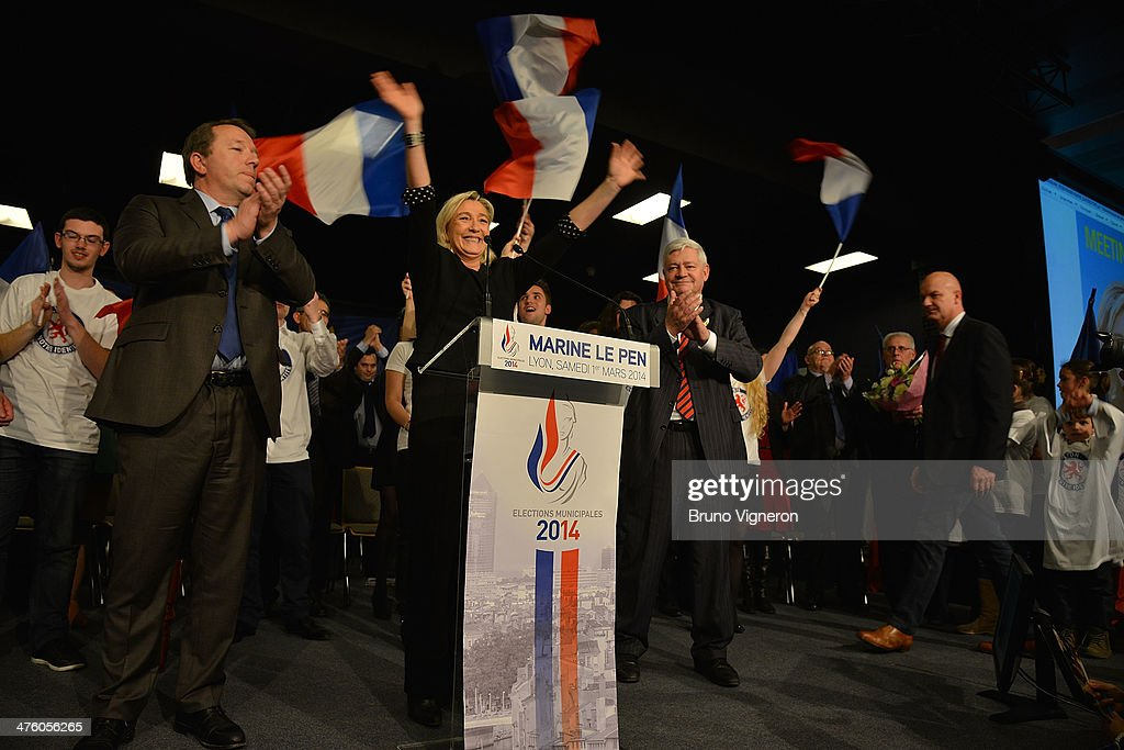 Christophe Boudot French farright Front National party leader Marine Le Pen and Bruno Gollnisch attend a press conference in support of the FN...