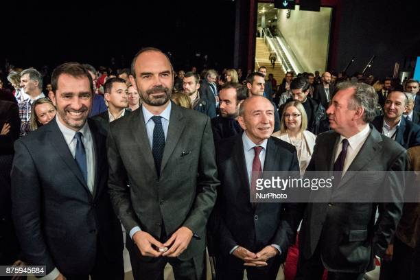 Christophe Castaner Edouard Philippe Gérard Collomb François Bayrou arrive at the meeting during the council of the Republic on the Move party at...