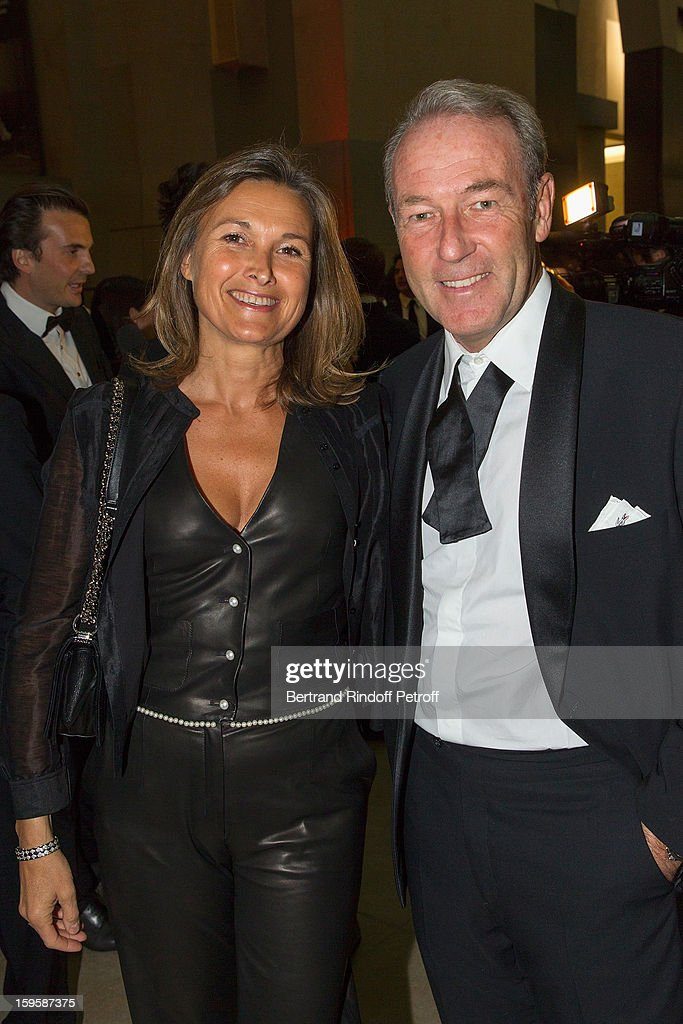 Christophe Chenut (R) and his wife attend the GQ Men of the year awards 2012 at Musee d'Orsay on January 16, 2013 in Paris, France.