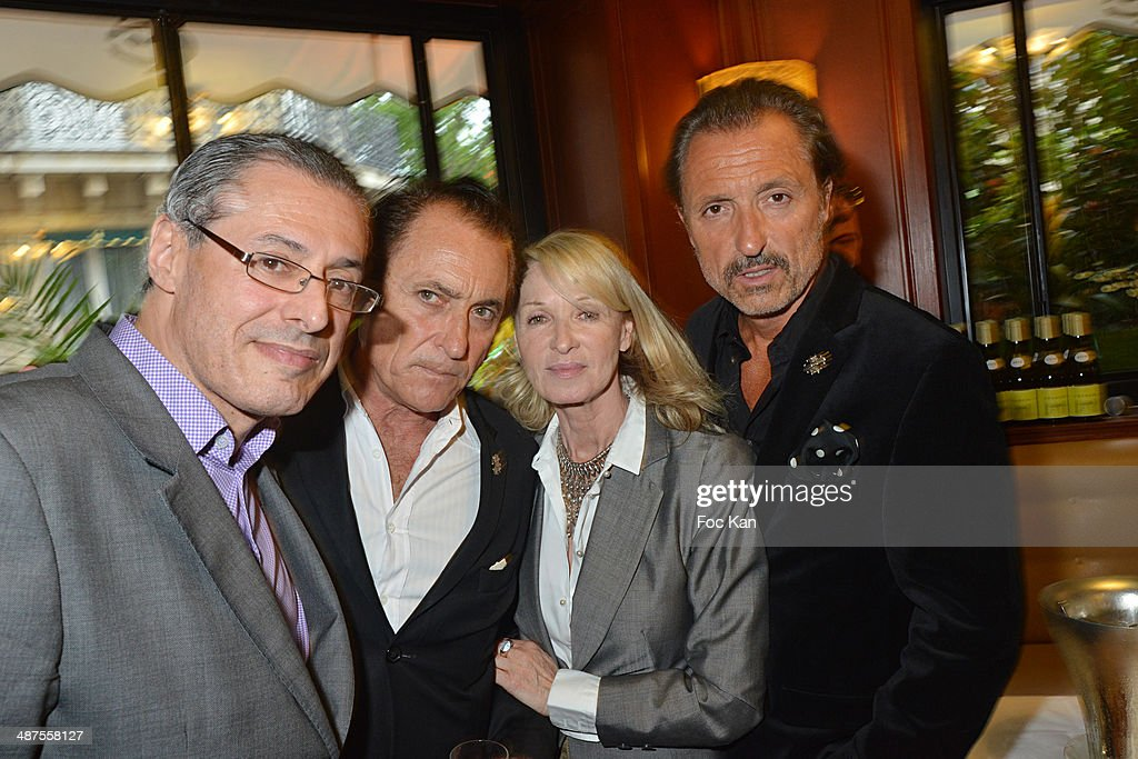 Christophe Delecroix, Franck Ros, Ruth ObadiaÊand Gilbert Ros attend the Francis Boussard's and Nadine Carpentier's : Private Cocktail At Cafe de Flore on April 30, 2014 in Paris, France.