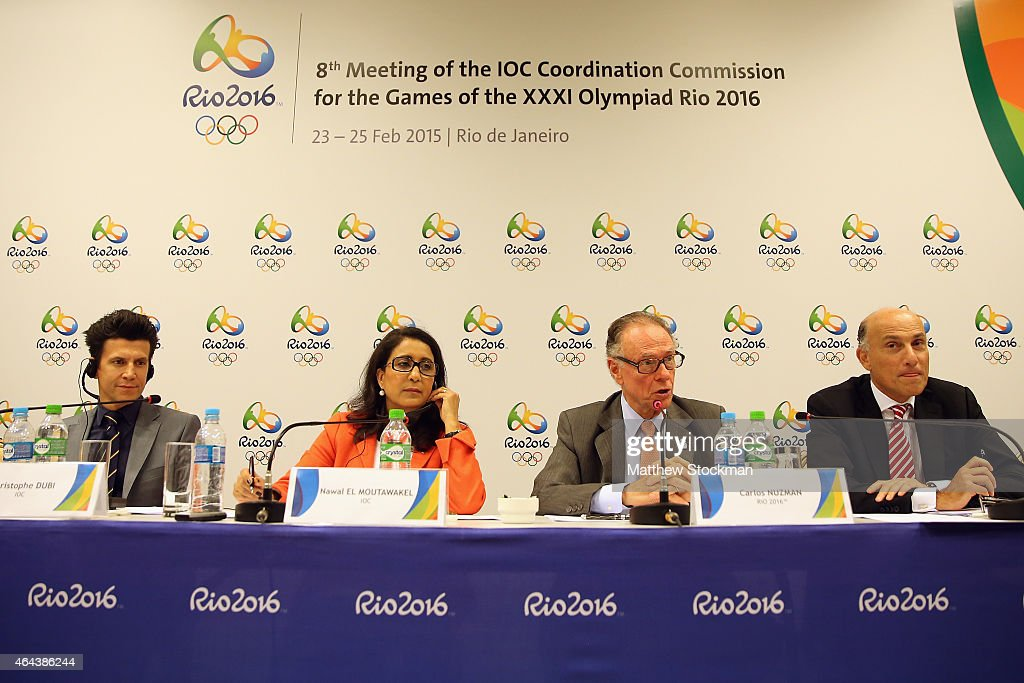 Christophe Dubi, IOC Olympic Games Executive Director, <a gi-track='captionPersonalityLinkClicked' href=/galleries/search?phrase=Nawal+El+Moutawakel&family=editorial&specificpeople=215203 ng-click='$event.stopPropagation()'>Nawal El Moutawakel</a>, IOC Member from Morocco and Chair Commission, Carlos Arthur Nuzman, President of the Rio 2016 Organizing Committee and Sidney Levy, Chief Executive Officer of the Rio 2016 Organizing Committee, attend a press conference during the 8th Meeting of the IOC Coordination Commission at the Windsor Atlantica Hotel on February 25, 2015 in Rio de Janeiro, Brazil.