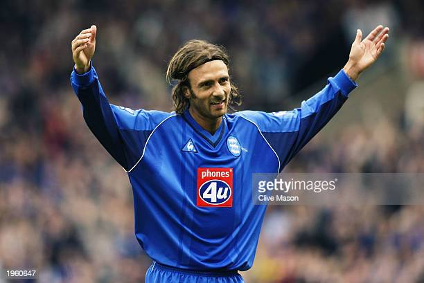 Christophe Dugarry of Birmingham City celebrates scoring the opening goal during the FA Barclaycard Premiership match between Birmingham City and...