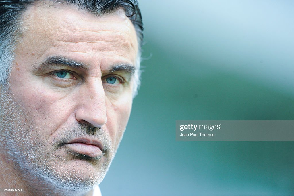 Christophe GALTIER coach of Saint Etienne during the Ligue 1 match between As Saint Etienne and Montpellier Herault at Stade GeoffroyGuichard on...