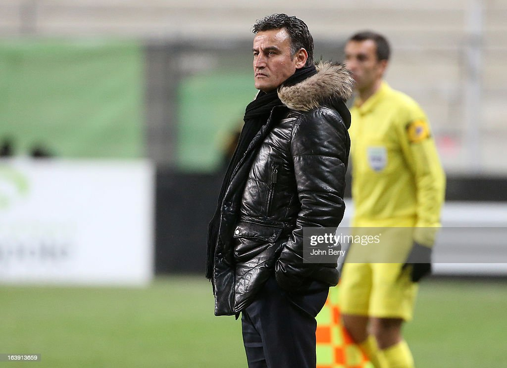 Christophe Galtier, coach of Saint-Etienne looks on during the Ligue 1 match between AS Saint-Etienne ASSE and Paris Saint-Germain FC at the Stade Geoffroy-Guichard on March 17, 2013 in Saint-Etienne, France.