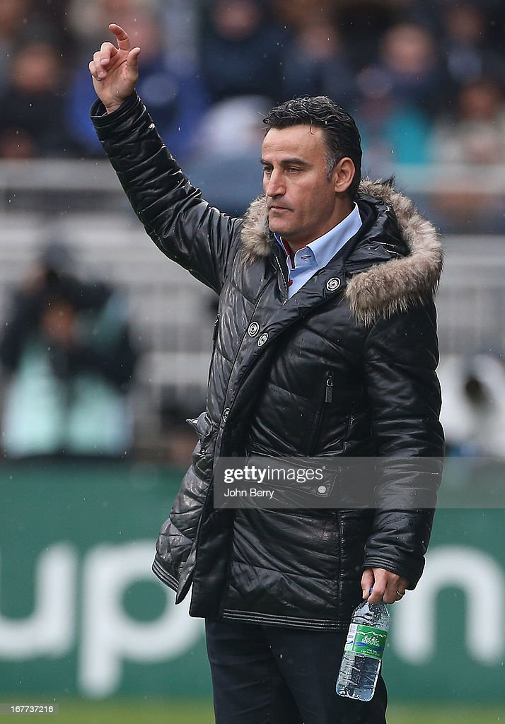 Christophe Galtier, coach of Saint-Etienne looks on during the Ligue 1 match between Olympique Lyonnais, OL, and AS Saint-Etienne, ASSE, at the Stade Gerland on April 28, 2013 in Lyon, France.