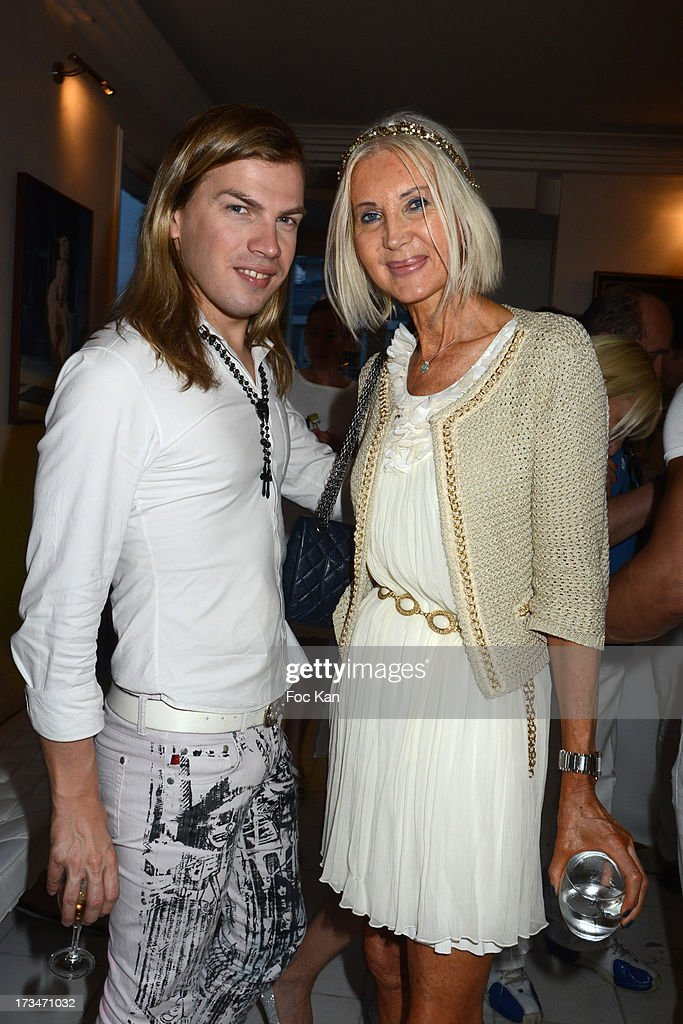 Christophe Guillarme and Anne de Champigneul attend the 14th July White Party at the Pierre Guillermo residence on July 14, 2013 in Paris, France.