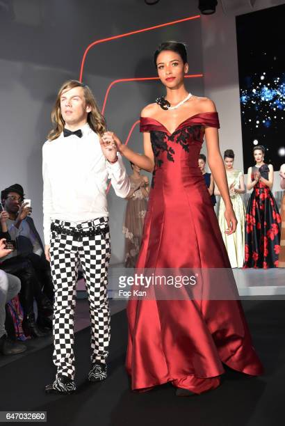 Christophe Guillarme and Flora Coquerel walk the runway during the Christophe Guillarme show as part of the Paris Fashion Week Womenswear Fall/Winter...