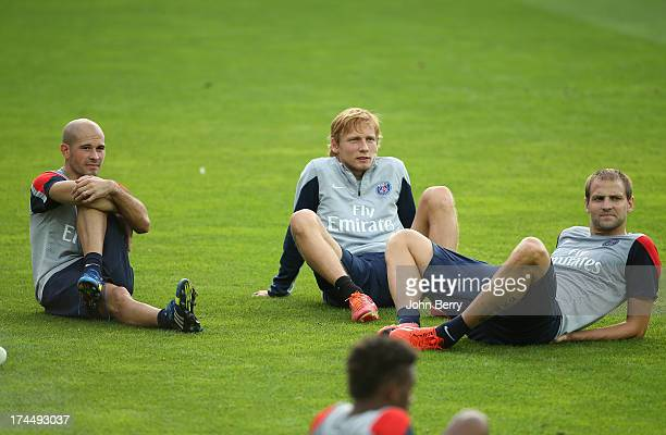 Christophe Jallet Clement Chantome Mathieu Bodmer of PSG relax after a training session on the eve of the friendly match between Paris SaintGermain...