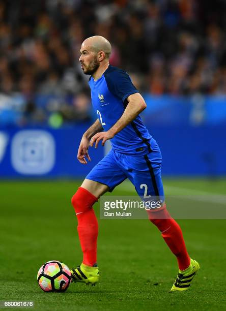 Christophe Jallet of France controls the ball during the International Friendly match between France and Spain at the Stade de France on March 28...