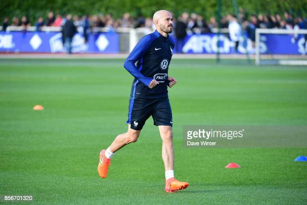 Christophe Jallet of France during the training session at Centre National du Football on October 2 2017 in Clairefontaine en Yvelines France