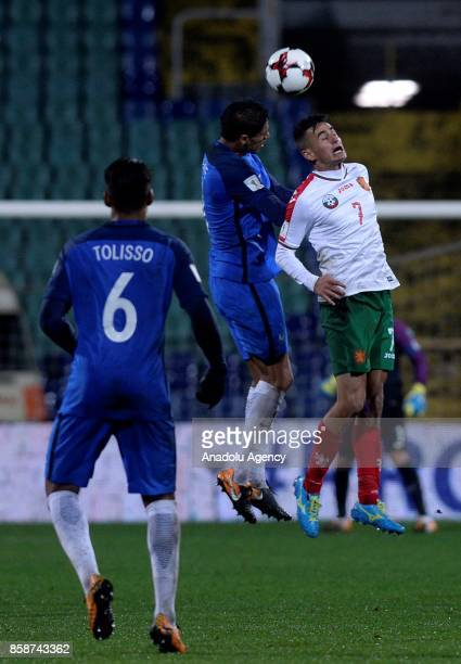 Christophe Jallet of France in action against Georgi Kostadinov of Bulgaria during the FIFA 2018 World Cup Qualifier Group A match between Bulgaria...