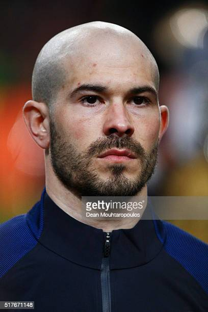 Christophe Jallet of France looks on prior to the International Friendly match between Netherlands and France at Amsterdam Arena on March 25 2016 in...