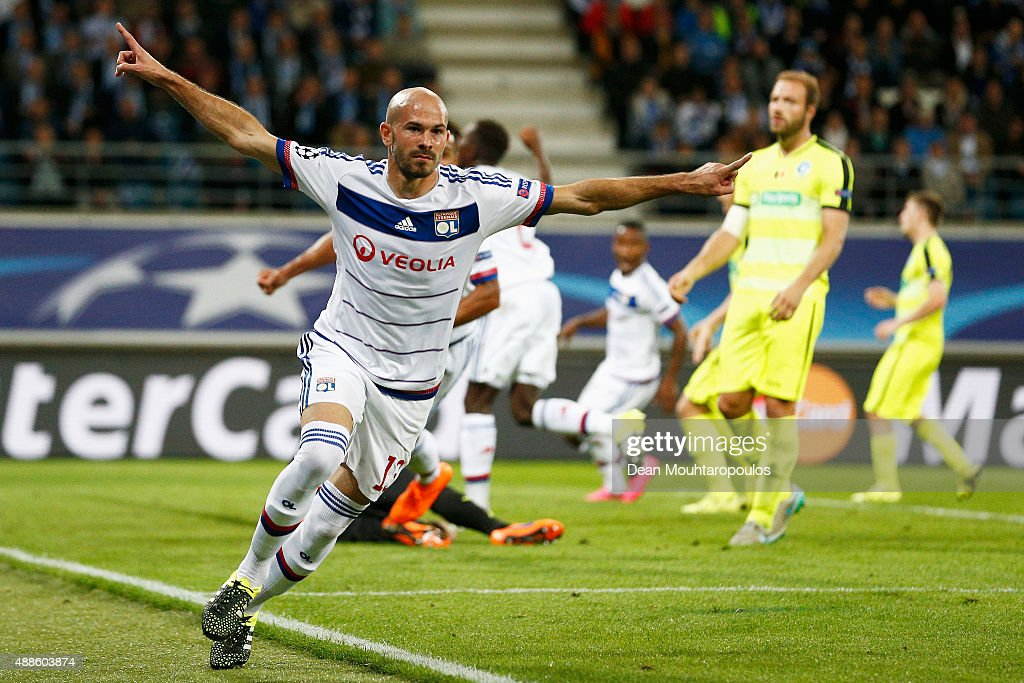 Christophe Jallet of Lyon celebrates scoring his teams first goal of the game during the UEFA Champions League Group H match between KAA Gent and Olympique Lyonnais held at Ghelamco Arena on September 16, 2015 in Gent, Belgium.