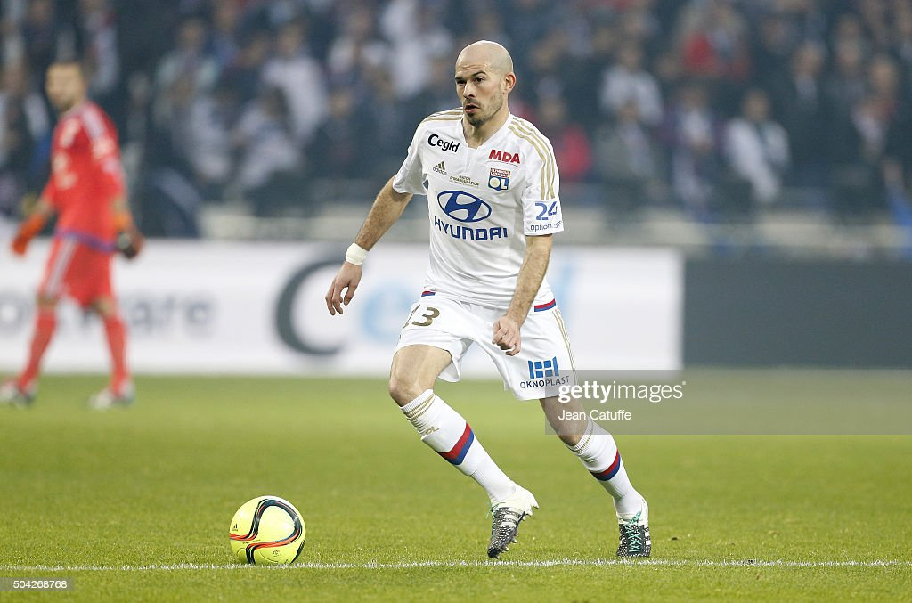 <a gi-track='captionPersonalityLinkClicked' href=/galleries/search?phrase=Christophe+Jallet&family=editorial&specificpeople=2264495 ng-click='$event.stopPropagation()'>Christophe Jallet</a> of Lyon in action during the French Ligue 1 match between Olympique Lyonnais (OL) and Troyes ESTAC at their brand new stadium, Parc Olympique Lyonnais on January 9, 2016 in Lyon, France.