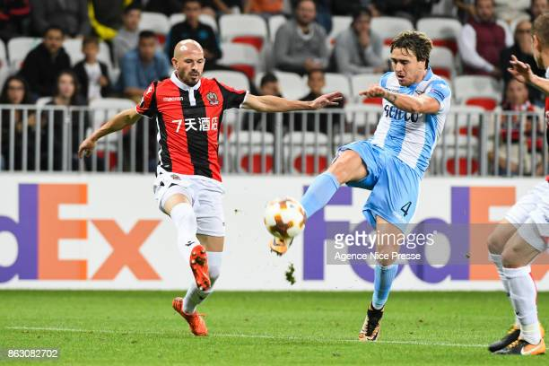 Christophe Jallet of Nice and Patric of Lazio during the Europa League match between OGC Nice and Lazio Roma at Allianz Riviera on October 19 2017 in...