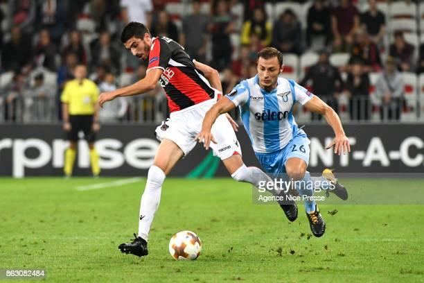 Christophe Jallet of Nice and Stefan Radu of Lazio during the Europa League match between OGC Nice and Lazio Roma at Allianz Riviera on October 19...
