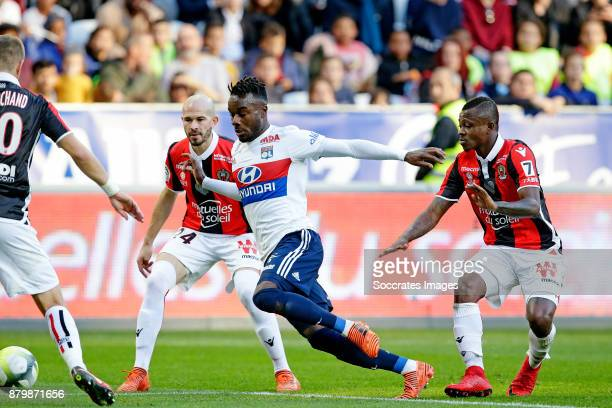 Christophe Jallet of Nice Maxwel Cornet of Olympique Lyon Jean Michael Seri of Nice during the French League 1 match between Nice v Olympique Lyon at...