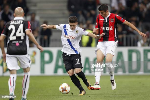 Christophe Jallet of OCG Nice Milot Rashica of Vitesse Pierre LeesMelou of OCG Nice during the UEFA Europa League group K match match between OGC...