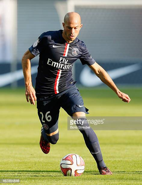 Christophe Jallet of Paris runs with the ball during the pre season friendly match between RB Leipzig and Paris SaintGermain at Red Bull Arena on...