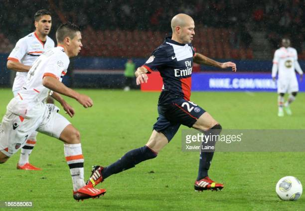Christophe Jallet of Paris SaintGermain with the ball during the French League 1 between Paris SaintGermain FC and Lorient FC at Parc des Princes on...