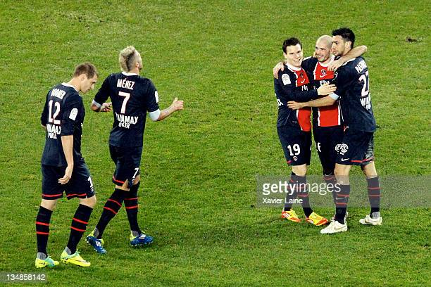Christophe Jallet of PSG celebrates with teammates Mathieu Bodmer Jeremy Menez Kevin Gameiro and Javier Pastore after scoring a goal during the...