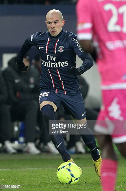 Christophe Jallet of PSG in action during the French Ligue 1 match between Paris Saint Germain FC and Evian Thonon Gaillard FC at the Parc des...