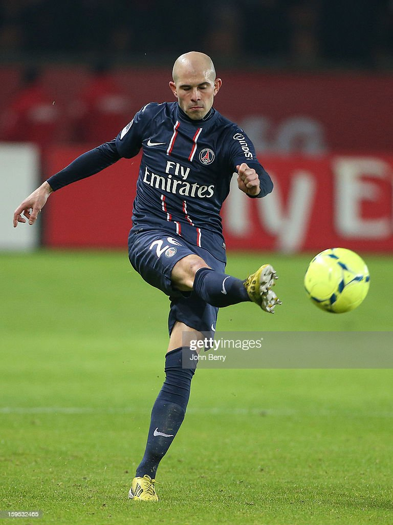 Christophe Jallet of PSG in action during the French Ligue 1 match between Paris Saint Germain FC and AC Ajaccio at the Parc des Princes stadium on January 11, 2013 in Paris, France.