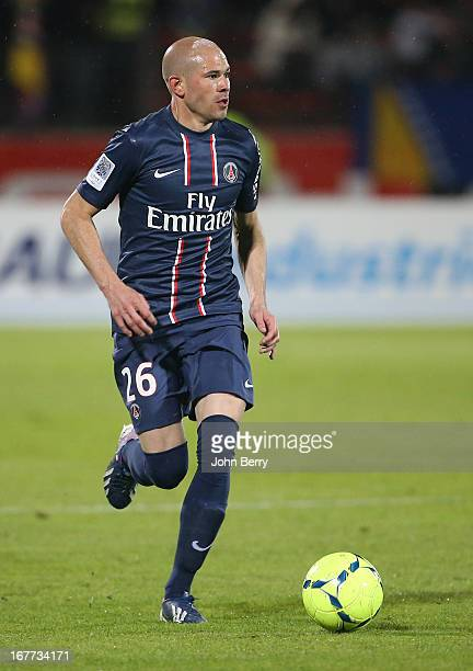 Christophe Jallet of PSG in action during the Ligue 1 match between Evian Thonon Gaillard FC ETG and Paris Saint Germain FC PSG at the Parc des...
