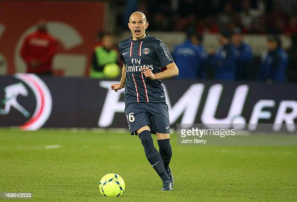 Christophe Jallet of PSG in action during the Ligue 1 match between Paris SaintGermain FC and Valenciennes FC at the Parc des Princes stadium on May...