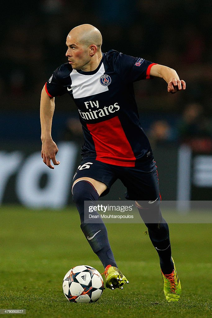 <a gi-track='captionPersonalityLinkClicked' href=/galleries/search?phrase=Christophe+Jallet&family=editorial&specificpeople=2264495 ng-click='$event.stopPropagation()'>Christophe Jallet</a> of PSG in action during the UEFA Champions League Round of 16 second leg match between Paris Saint-Germain FC and Bayer Leverkusen at Parc des Princes on March 12, 2014 in Paris, France.