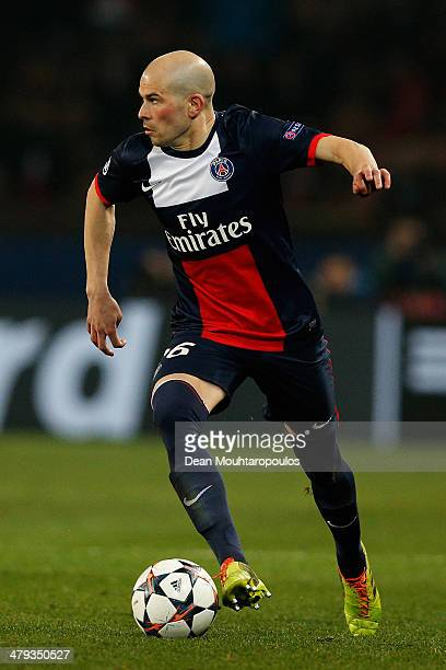 Christophe Jallet of PSG in action during the UEFA Champions League Round of 16 second leg match between Paris SaintGermain FC and Bayer Leverkusen...