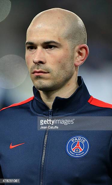 Christophe Jallet of PSG poses prior to the UEFA Champions League Round of 16 match between Paris SaintGermain FC and Bayer Leverkusen on March 12...