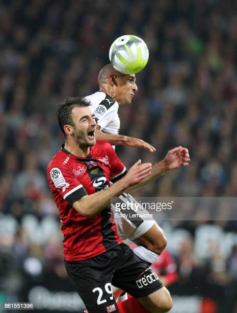 Christophe Kerbrat of Guingamp and Wahbi Khazri of Rennes during the Ligue 1 match between EA Guingamp and Stade Rennais at Stade du Roudourou on...